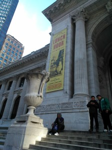 NYPL exterior and some midday loungers. 10 January 2013. Image by Martha Wade Steketee.