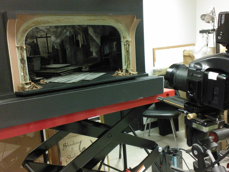 Follies set model in archival work room, ambient set, equipment set up. Image by Martha Wade Steketee.
