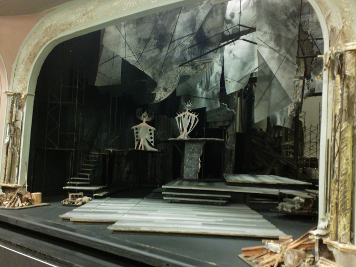 5 June 2013. From stage left looking deeper into the wings. The set model details are striking. Image by Martha Wade Steketee.