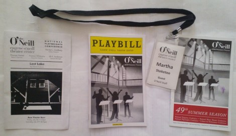 "(L-R) David Auburn LOST LAKE reading insert, 2013 Summer Season Eugene O'Neill Theater Center Playbill, my ""O'Neill Staff"" guest badge required for entrance everywhere, and 49th Summer Season general catalog. Image by Martha Wade Steketee."