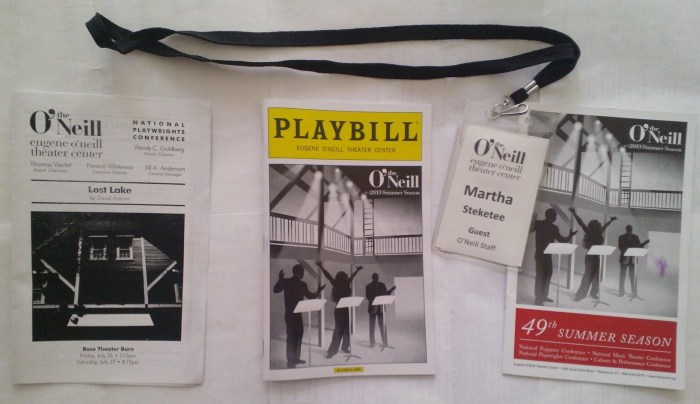 (L-R) David Auburn LOST LAKE reading insert, 2013 Summer Season Eugene O'Neill Theater Center Playbill, my