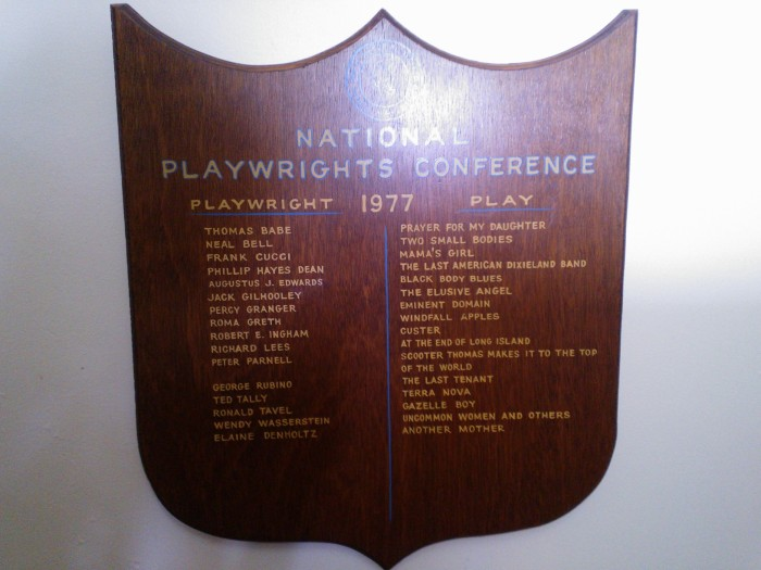 Ms. Wasserstein's name drew me to 1977 plaque among the scores lining a hall at the Hammond Mansion, O'Neill Theater Center. Image by Martha Wade Steketee.