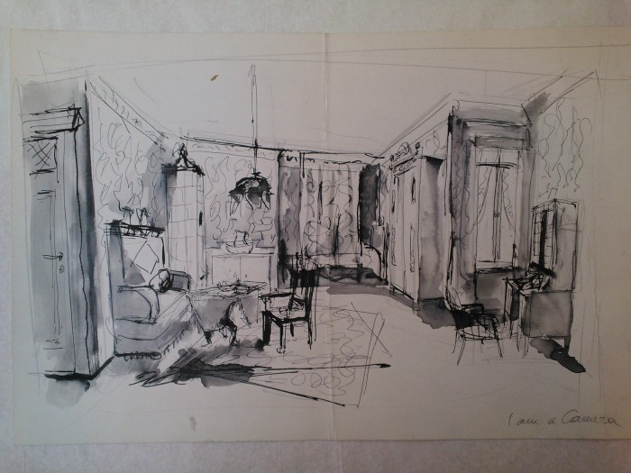 I Am a Camera (1951). Scenic and lighting design by Boris Aronson. Sketch in ink and watercolor. Image by Martha Wade Steketee.