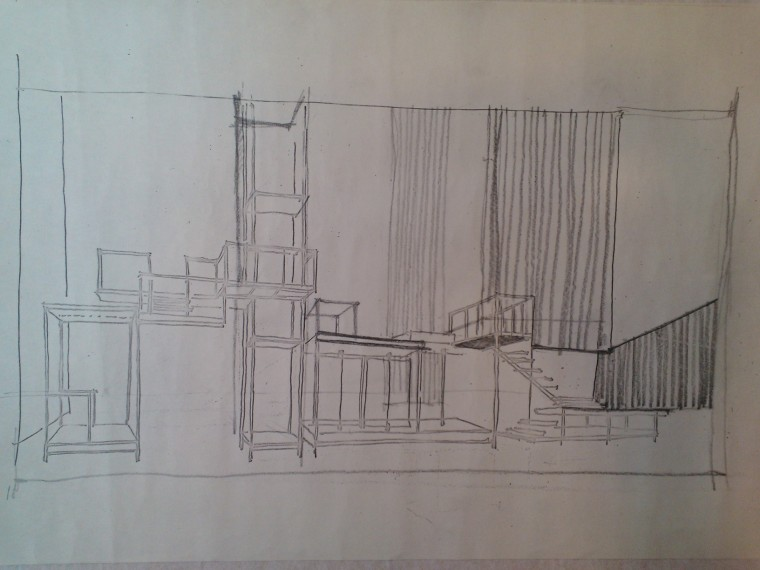 Company (1970). Pencil sketch on tracing paper. Image by Martha Wade Steketee.