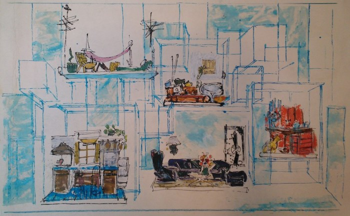 Company (1970). Scenic and projection design by Boris Aronson. Sketch in pencil, watercolor, and gouache. Image by Martha Wade Steketee.