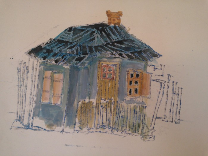 Fidder on the Roof (1964) Sketch in watercolor, wax. Image by Martha Wade Steketee.