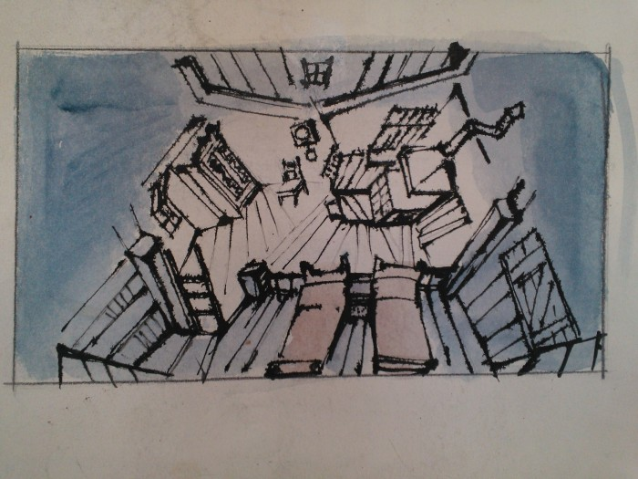 Fidder on the Roof (1964). Scenic design by Boris Aronson. Sketch in ink and watercolor. Image by Martha Wade Steketee.