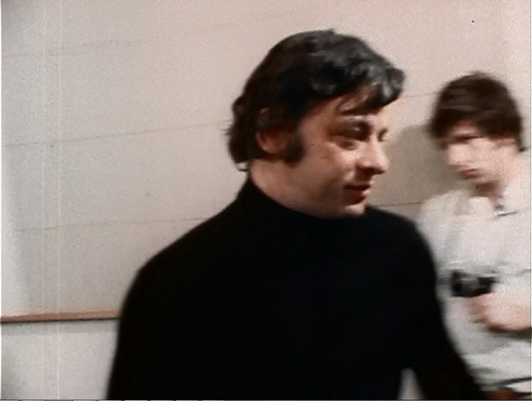 (L-R) Stephen Sondheim, Stephen Paley with camera.