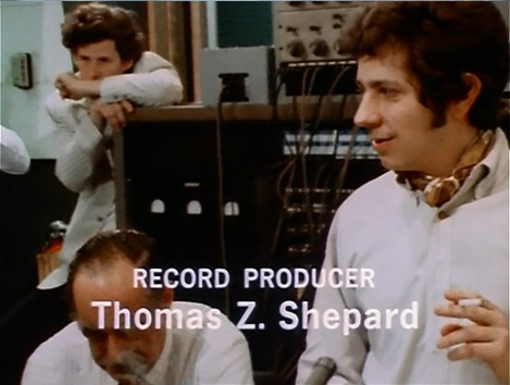 (L-R) Steven Paley at top, sound engineer, Thomas Z. Shepard record producer. Screen capture by Martha Wade Steketee.