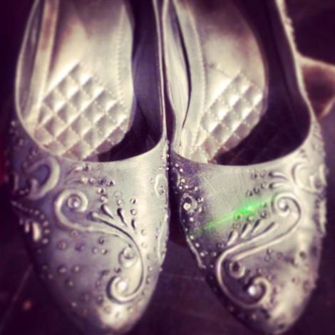 Wicked Witch of the East's silver slippers in Strangemen & Co.'s The Woodsman.