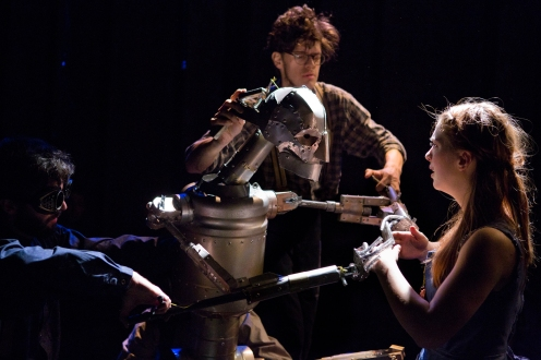 (L-R) Will Gallacher, James Ortiz, Eliza Simpson (and at center, of course, the Tin Man). Image by Hunter Canning.