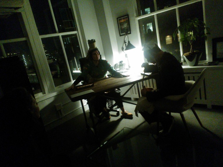 (L-R) x, Paul. A Job perofrmance review? I love the low light. Note co-director / chroegrapher Annie B. Parsons in shadows at far left.