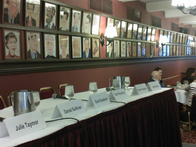 Sardi's Panel dais before the fun began. Image by Martha Wade Steketee.