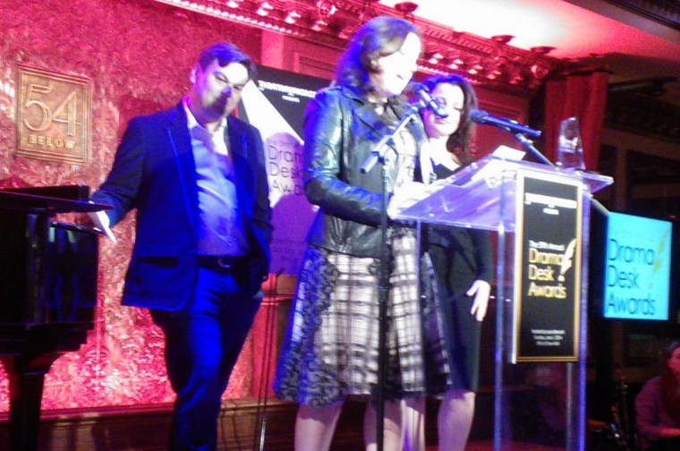 (L-R) Robert Lopez, Kristin Anderson Lopez, Fran Drescher. Image by Martha Wade Steketee. Image quality demonstrating yet again that professional photographers with real equipment do it better. But I was there.