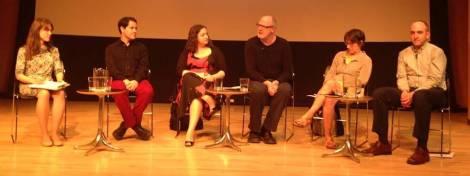 21 May 2014 LMDA Panel. (L-R) Amy Jensen, Ken Cerniglia, Jill Rafson, Peter Eckersall, Anne Cattaneo, David Schultz.