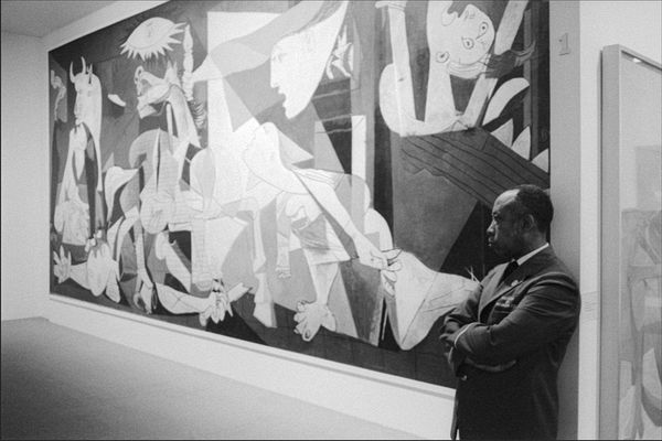 Pablo Picasso. Guernica (1937) while hanging at MOMA. Now Museo Reina Sofia, Madrid, Spain.