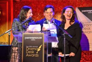 (L-R) Kristen Anderson Lopez, Robert Lopez, Fran Descher. Laughter was frequent and raucous during this short announcement event.