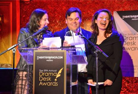 (L-R) Kristen Anderson Lopez, Robert Lopez, Fran Descher. Laughter was frequent and raucous during this short announcement event.