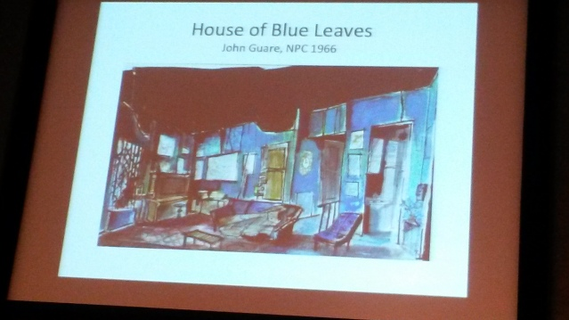 Slide from the presentation -- Dream Design sketch for John Guare's House of Blue Leaves. Image by Martha Wade Steketee.