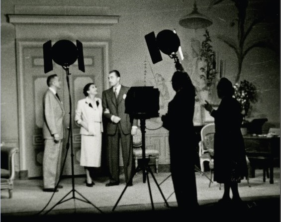 "1951 photography session led by Florence Vandamm at far right with John Emery, Katharine Cornell, and Brian Aherne on the set for ""The Constant Wife"" -- part of the 2013-2014 NYPL exhibit ""Pioneering Poet of Light: Forence VanDamm & the Vandamm Studio"""