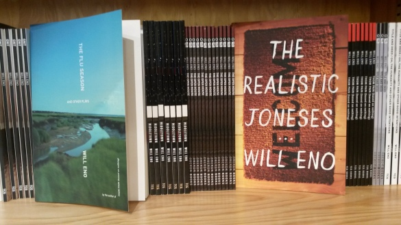 Will Eno plays almost fill a shelf at the Signature Theatre bookstore. Photo by Martha Wade Steketee.