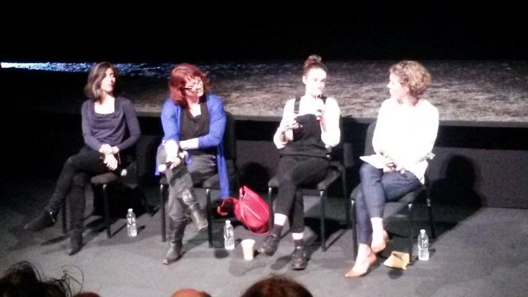 (L-R) Annie Ryan, Eimear McBride, Aoife Duffin, Paige Reynolds. Post show discussion April 22, 2016, Baryshnikov Arts Center. Image by Martha Wade Steketee.
